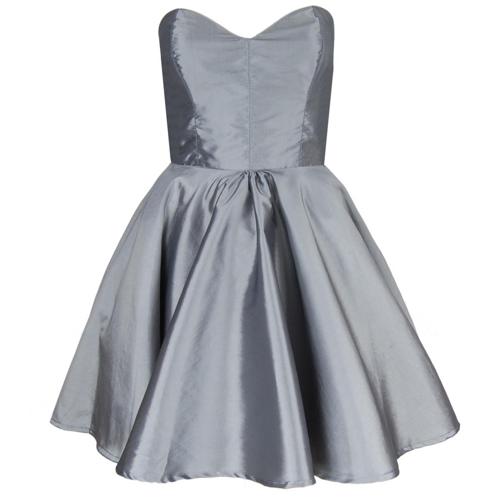 Silver Taffeta Party Dress   Style Icon`s Closet