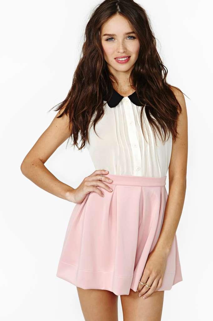 Scuba Skater Skirt - Blush | Shop Clothes at Nasty Gal