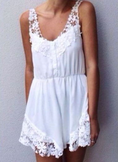 White Sleeveless Floral Crochet Lace Jumpsuit - Sheinside.com