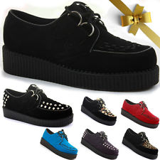 WOMENS LADIES CREEPERS PLATFORM WEDGE LACE UP GOTH PUNK SHOES BOOTS BROTHEL SIZE   eBay