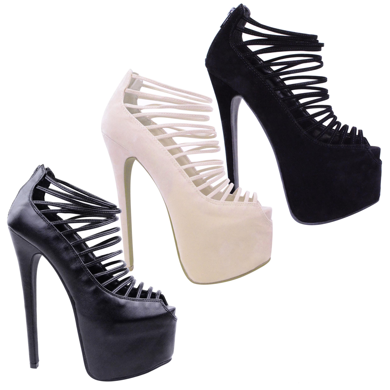 Ladies Womens 7 inch Stilettos Platforms High Heels Strappy Court Shoes Size   eBay