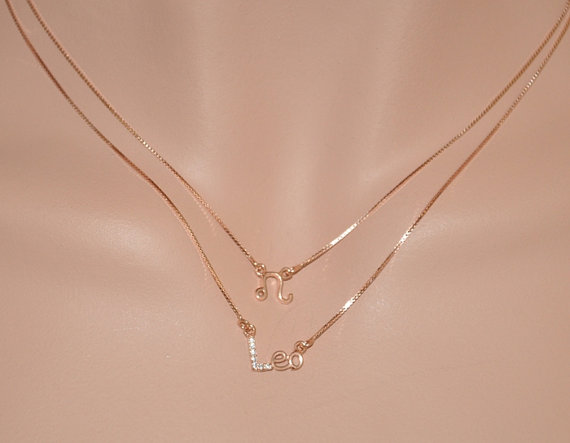 Rose Gold Filled Double Layer Zodiac Necklace LEO by SterlingWorld
