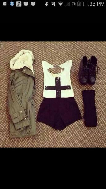 tank top shirt coat shorts shoes