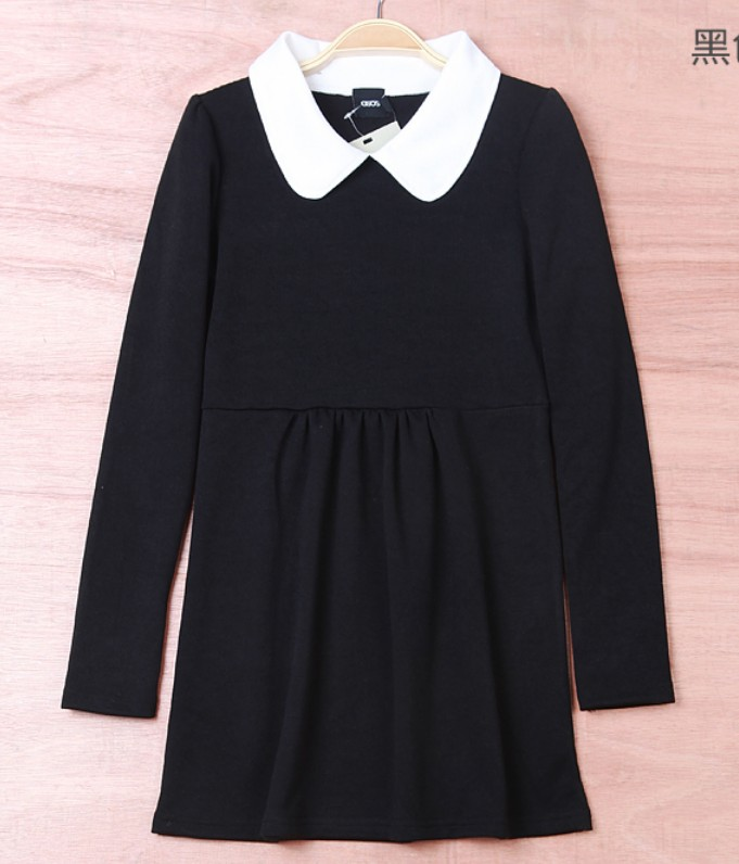 Graceful Womens Casual Black Mini Dress Shift Long Sleeves Peter Pan Collar 1DR | eBay