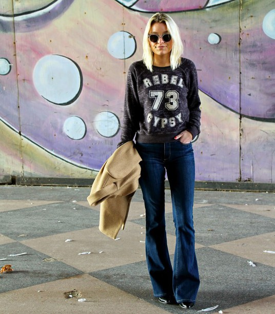 platinum and penniless blogger grey sweater shirt jacket sunglasses
