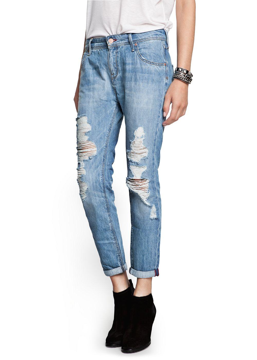 Light wash ripped boyfriend jeans -    Women - MANGO