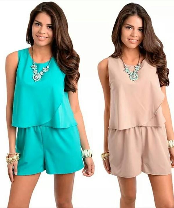 blouse set t-shirt romper nude aqua mint wholesale dresses