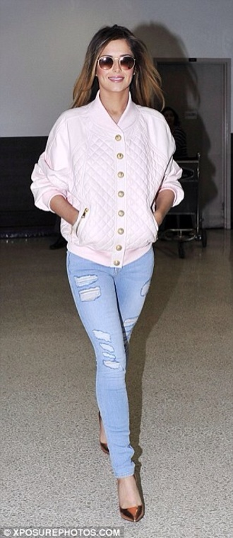 jacket white leather jacket quilted cheryl cole jeans light jeans ripped shorts shoes metallic heels pointed toe heels sunglasses round sunglasses