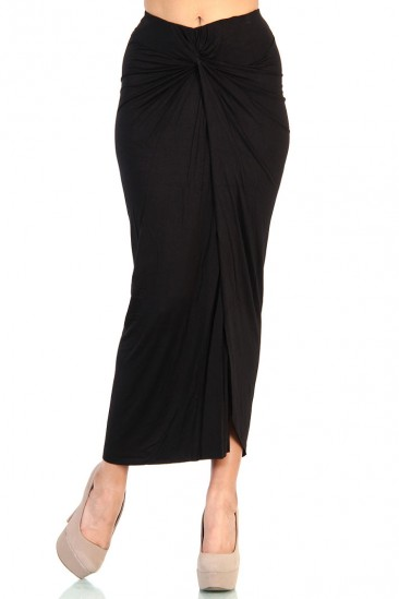 LoveMelrose.com From Harry & Molly | Knot Front Maxi Skirt with Slit Detail- Black