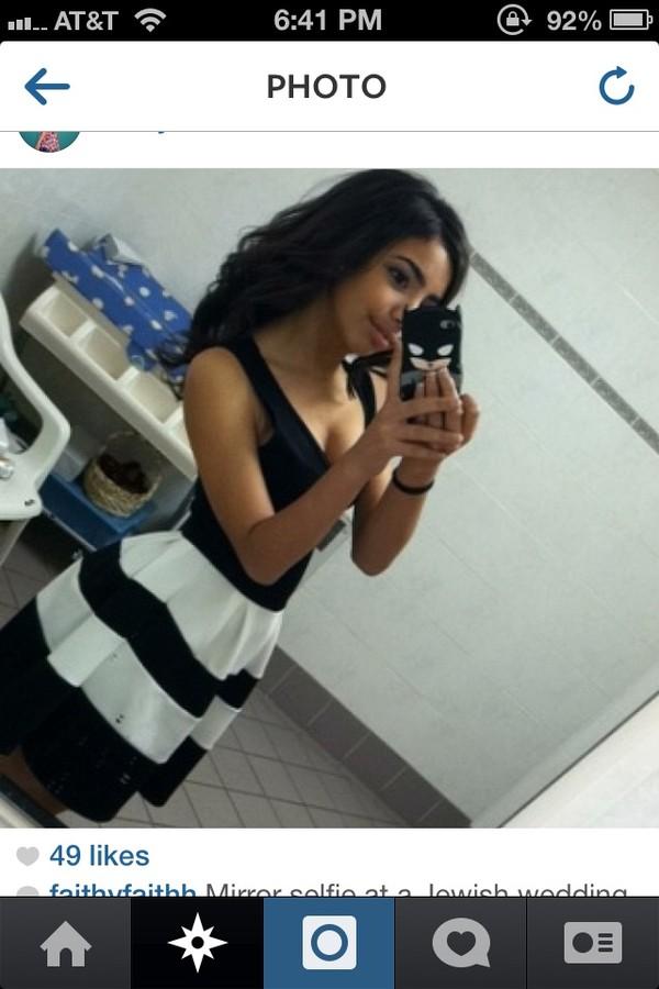dress black dress stripes striped dress white black