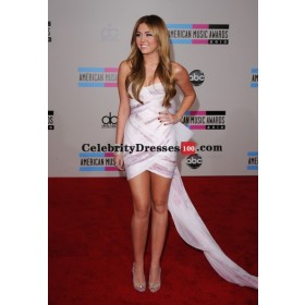 Miley Cyrus Short White Strapless Mini Cocktail Celebrity Dresses American Music Awards 2010