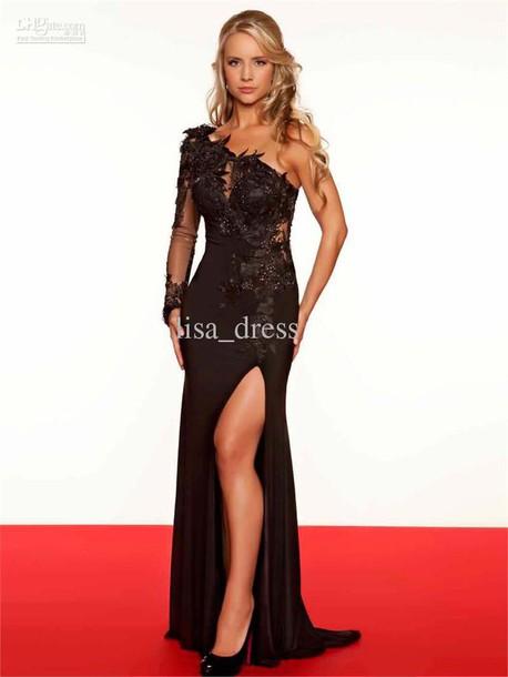 dress prom dress black dress one shoulder