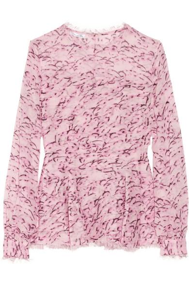Oscar de la Renta|Feather-print silk-chiffon blouse|NET-A-PORTER.COM