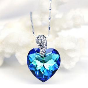 Blue Heart Shape Faux Crystal Pendant Chain Necklace [grxjy5100271] on Luulla