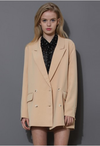 Charms Double Breasted Nude Blazer - Retro, Indie and Unique Fashion