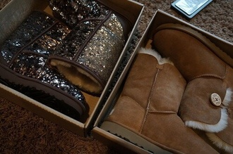 shoes glitter studs ugg boots grey
