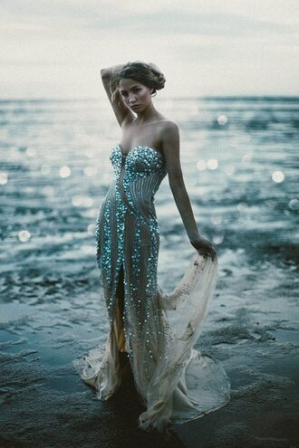 mermaid prom dress mermaid blue dress turquoise sequins sequin dress strapless dress strapless evening dress sexy dress dress prom dress prom gown sparkels flowy silver shear dress blue prom gorgeous sea creatures nude long prom dress slit sexy diamante detail pattern patterned dress chiffon plunge dress beautiful summer maxi dress amazing skin tight skin tight dresses beige nude dress sexy long prom dress tourquoise mermaid gown gown