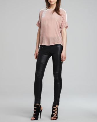 J Brand Ready to Wear Daisy Loose Velvet Blouse & Emmi Skinny Leather Pants - Neiman Marcus