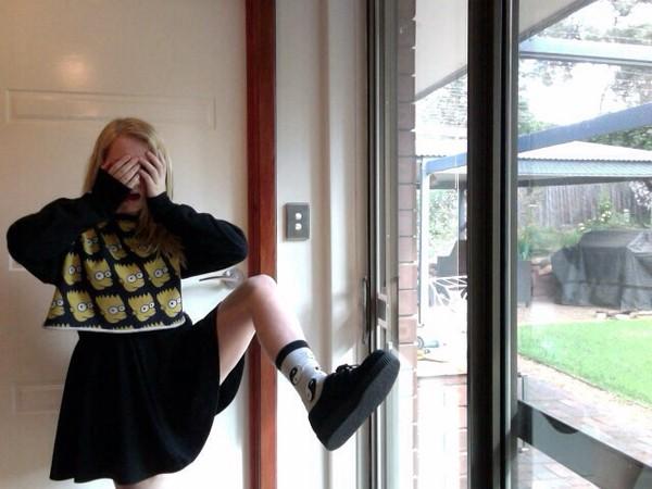 shirt sweater crop tops top long sleeves knitted sweater knit tumblr girly grunge grunge girl black underwear