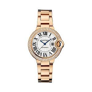 Cartier Ballon Bleu 33mm ladies' rose gold bracelet watch- Ernest Jones