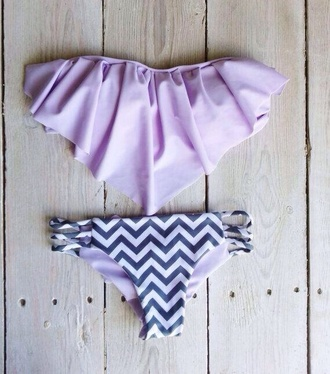 swimwear bikini summer chevron ruffle bandeau bikini purple swimwear purple bikini purple cheveron fringe bikini fringes lavender chevron bikini cute purple bandeau zig zag print bandeau bikini black stripes ruffled bikini ruffle trim bikini lilac swimwear two piece
