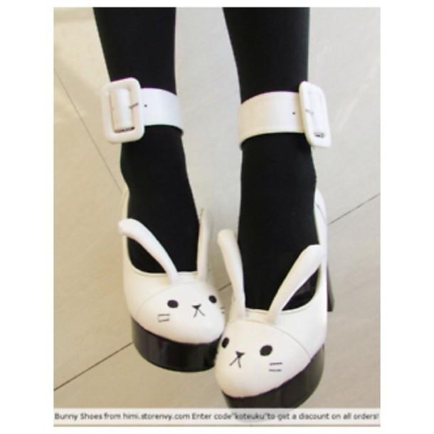 shoes kawaii shoes bunny white shoes easter