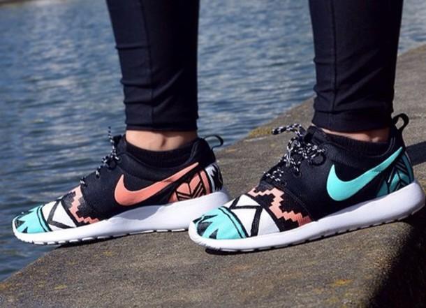 shoes nike roshe run tribal pattern custom