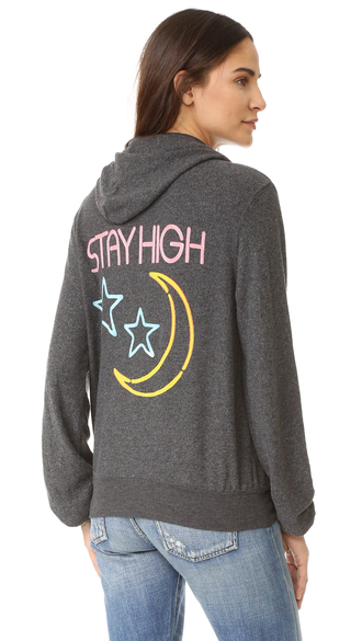 sweater fashion clothes wildfox stay high zip up hoodie soft reverse fleece super-soft