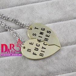 vente en gros nouveau style daren 2014 broken heart 2 pièces collier à pendentif meilleur putain de salopes