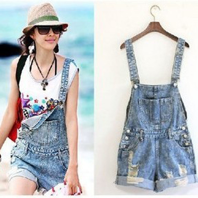 Women hole Short Jeans,Fashion Jumpsuits hot Pants,Overalls Denim Shorts,Girl Summer wear rompers jeans big pocket suspender-inJeans from Apparel & Accessories on Aliexpress.com