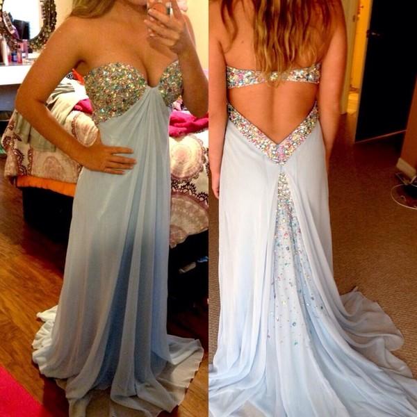 dress prom dress sherri hill rhinestones long prom dress short dress light blue