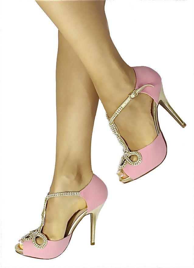 New Bonnibel Tiara 1 Rhinestone Pink Twisted T Strap Open Toe Dress Sandals 6 | eBay