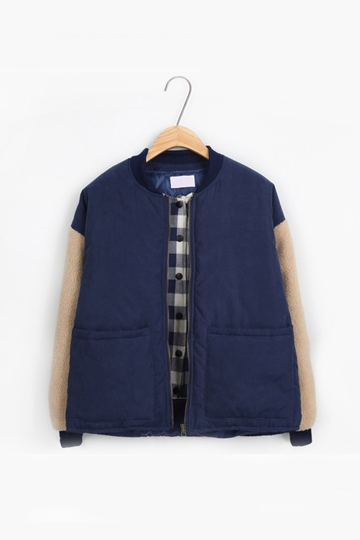 Two Pieces Padded Coat Joint Velvet Sleeves [FEBK0285]- US$ 43.99 - PersunMall.com