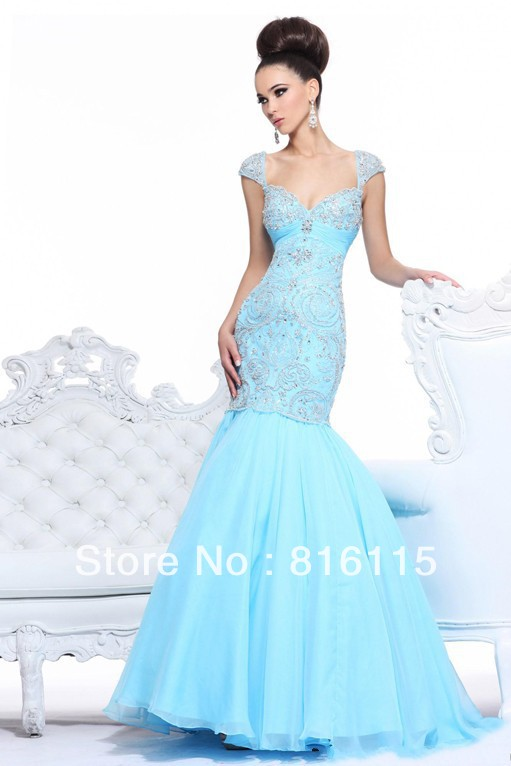 Famous Design Sky Blue Floor Length Custom Made Cap Sleeve Beaded Mermaid Arabic Designer Sherri Evening Dress Free Shipping-in Evening Dresses from Apparel & Accessories on Aliexpress.com