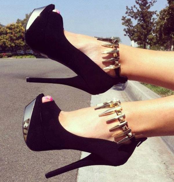 shoes black high heels silver nice