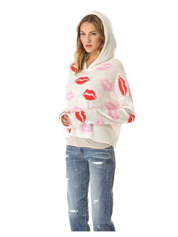 sweater sweater knitting kiss red lipstick hoodie
