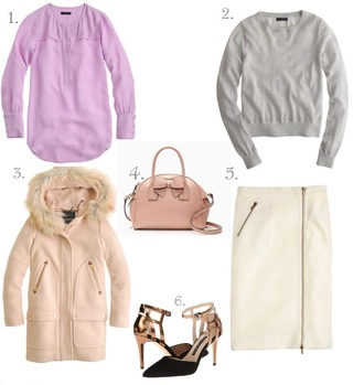lilly's style blogger bag grey sweater outfit duffle coat baby pink pencil skirt lilac pink coat