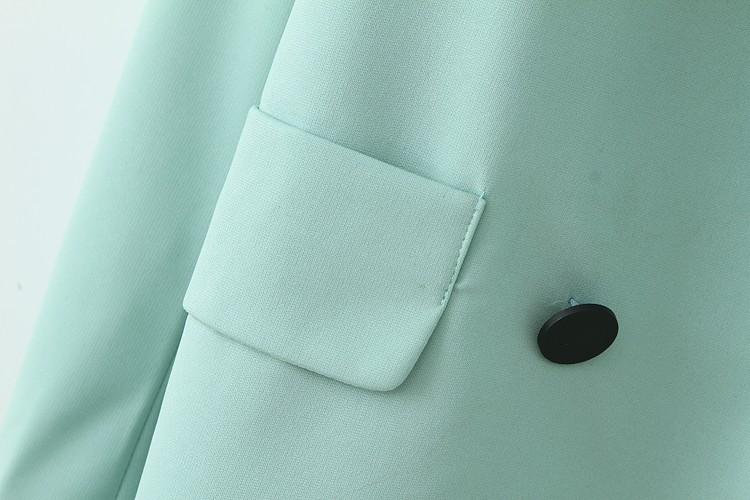 Green Notch Lapel Long Sleeve Pockets Blazer - Sheinside.com