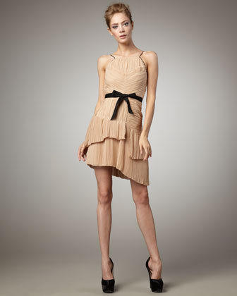 Robert Rodriguez Black Label Lynda Pleated Dress, Sand