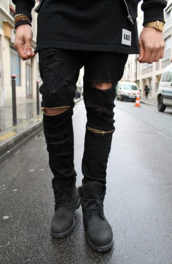 Jeans: pants black tumblr ripped gold mens menswear ripped