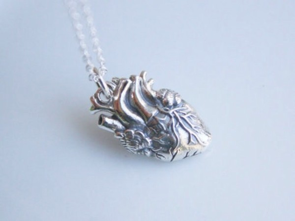 jewels silver heart tumblr pretty science necklace