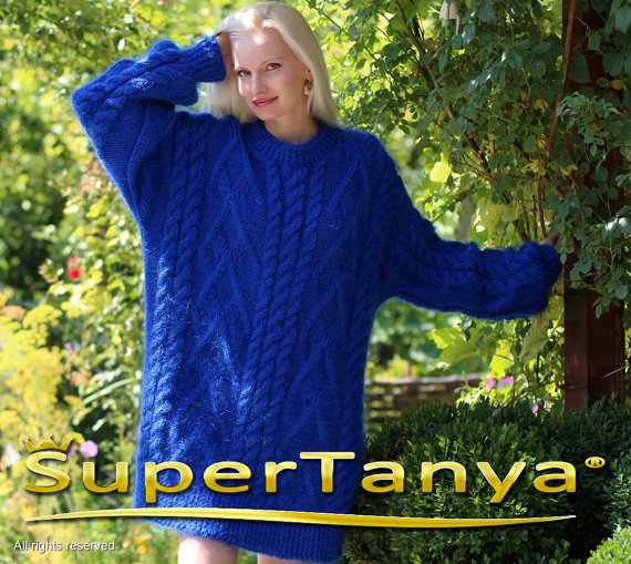 Extra thick royal blue hand knitted mohair sweater by supertanya