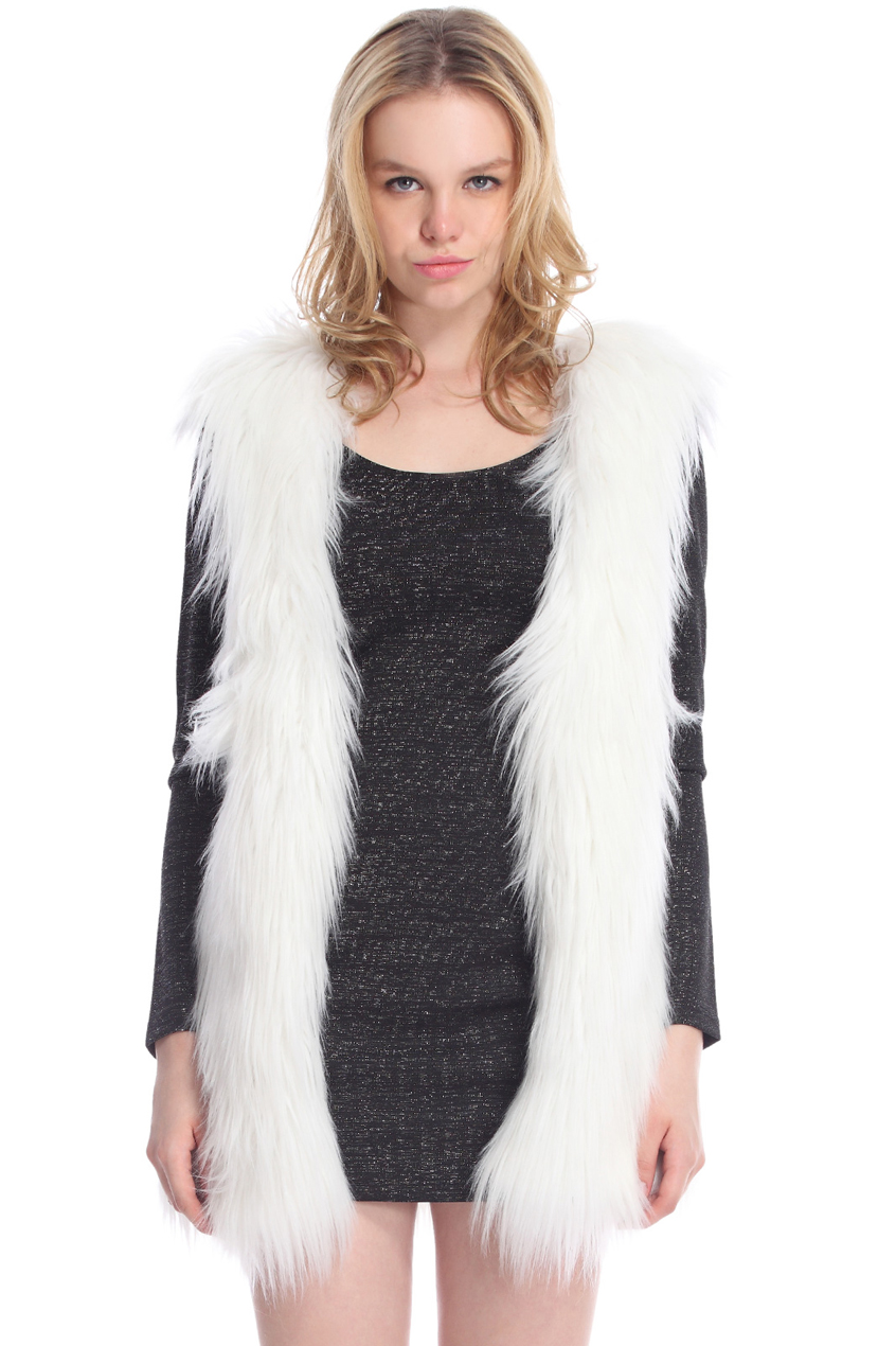 ROMWE | ROMWE Sleeveless White Faux Fur Coat, The Latest Street Fashion