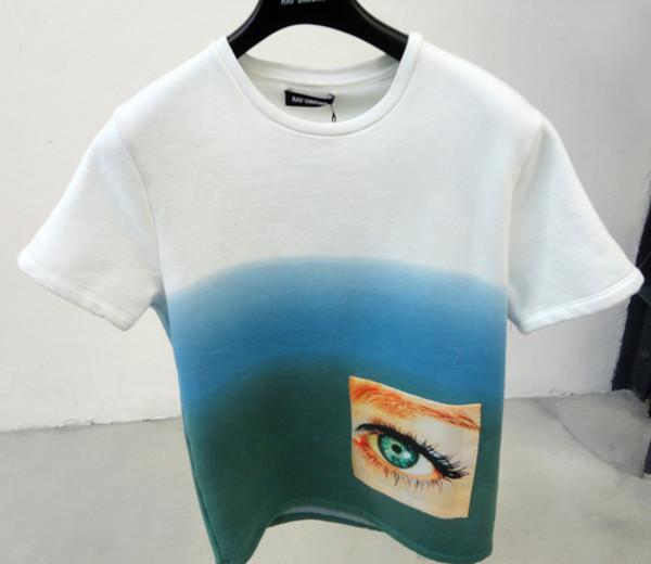 shirt t-shirt pockets eye gradient blue green urban clothes white blue eye patch
