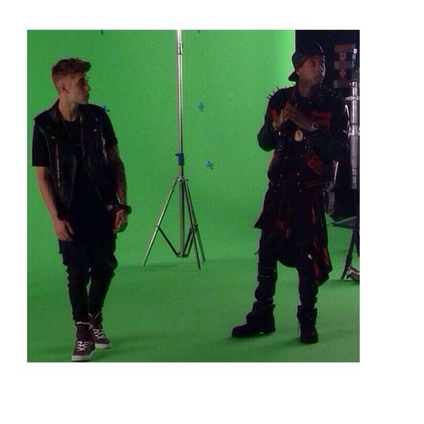 shoes justin bieber tyga music video spiked leather jacket leather jacket belieber jacket