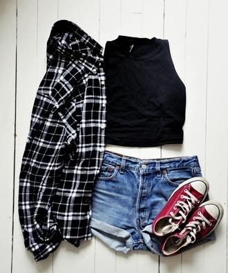 top black top crop tops black crop top shirt plaid shirt black shirt shorts denim shorts mini shorts sneakers converse red sneakers