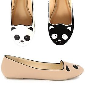 Womens Fashion Panda Bear Flat Animal Face in Black Nude White Cute Shoes | eBay