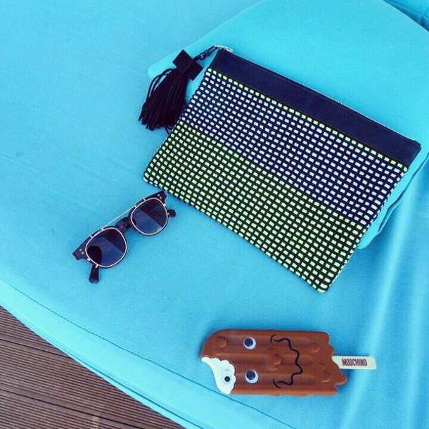 bag &et weaving handmade neon yellow clutch