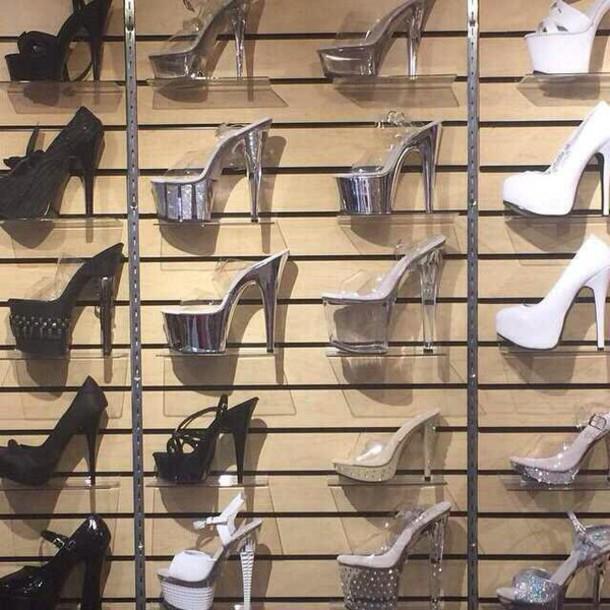 shoes black heels silver heels white heels