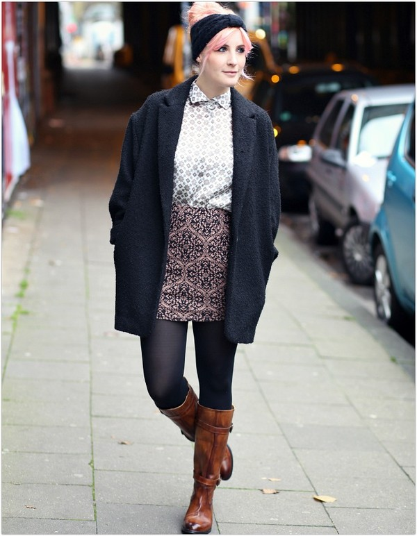like a riot coat blouse skirt shoes